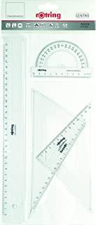 Rotring Centro 几何绘图套装带直尺 / 量角器 / 三角板 几何绘图套装 Geometrie-Set - 4 stück Sortiment