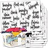 食品箱标签,罐子,收纳盒,厨房、浴室、洗衣房、办公室 Black print on clear background S…