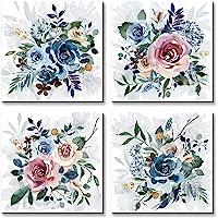 Wallpaint - 彩色玫瑰花图片印刷墙壁艺术小粉红色蓝色花卉绽放绘画 30.48 x 30.48 cm x 4 件…