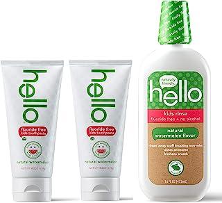 Hello Oral Care 儿童无氟牙膏,双包装含氟化物,天然西瓜红