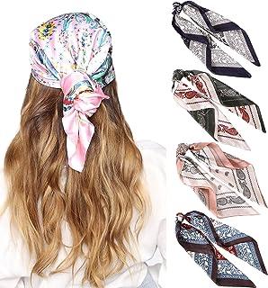 27 英寸(约 68.9 厘米)丝绸触感方形头巾 - 4 件缎面头巾 适用于女士头巾 头巾 睡巾 颈巾 (蓝色+棕色+粉色+*)
