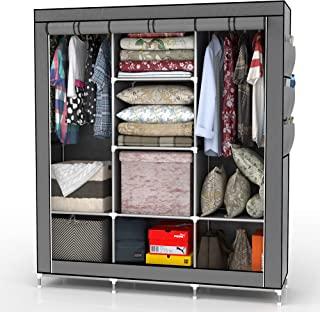 INTIRILIFE 折叠柜 130 x 175 x 45 厘米 ASCH GRAU - 带拉链织物柜,衣柜,带衣柜,隔层和侧袋 - 野营衣柜