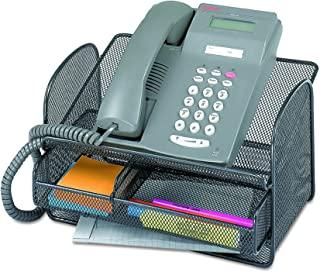 Safco Products 216BL 玛瑙网状电话支架带抽屉 Steel Mesh 黑色