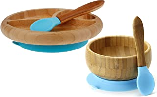 """""""Maven Gifts:Avanchy Feeding Bamboo Spill Proof Stay Put Suction Bowl - Great Baby Gift Set, Blue with Avanchy Feeding Bam..."""