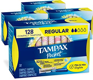Tampax丹碧丝 口袋珍珠塑料卫生棉条 无香型常规款 (32支装4盒共128支)(包装可能有所不同)