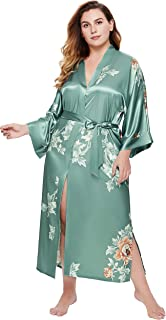 BABEYOND 和服长袍 加大码长款花卉缎面长袍 加大码和服罩衫 宽松开衫 单身女郎派对长袍