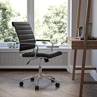 Flash Furniture LeatherSoft 当代罗纹办公转椅,中背黑色