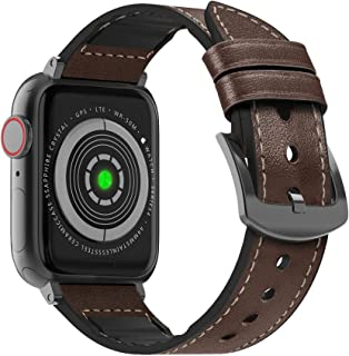MARGE PLUS 兼容蘋果手表表帶 44 毫米 42 毫米,防汗混合真皮和硅膠運動手表表帶替換,適用于 iWatch SE 系列 6 5 4 3 2 1,深棕色/太空灰