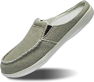 男式帆布一脚蹬拖鞋带足弓支撑,室内鞋木屐卧室室内室外,步行乐福鞋防滑(尺码:美码 7 – 美码 14)