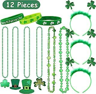 圣帕特里克节项链绿珠三叶草和四叶草头带和*腕带橡胶手链,12 件