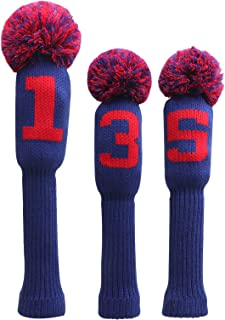 Big Teeth 高尔夫头套 针织 3 件套高尔夫球杆球道混合高尔夫配件球棒带数字标签