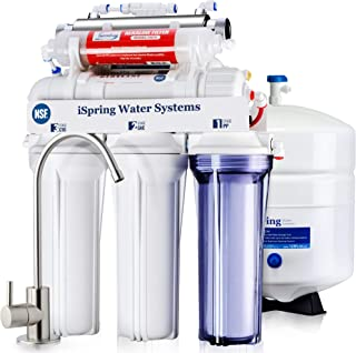 iSpring RCC7AK-UV 75GPD 7 级水槽下反渗透 RO 饮用水过滤系统,带碱性再矿化过滤器和紫外线清洗器