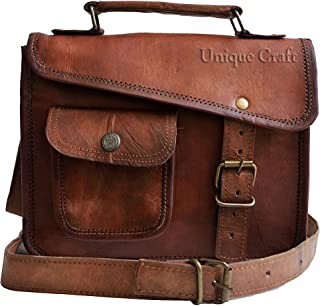 Unique CRAFT 11 英寸(约 27.9 厘米)复古皮革邮差包皮革笔记本电脑包男士皮革公文包旅行包