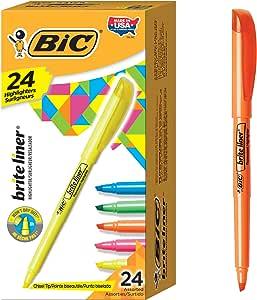 BIC Brite Liner 亮光笔,雕刻笔尖,多种颜色,24件