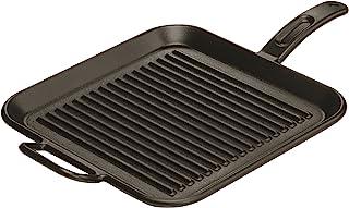 Lodge 12 英寸(约 30.5 厘米)方形铸铁烧烤盘。罗纹 12 英寸(约 30.5 厘米)方形铸铁烧烤盘,带双把手。