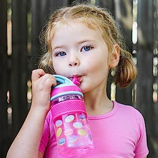 Nuby Thirsty Kids Flip-it Freestyle On The Go 水瓶,带防咬硬吸管杯和易握带,粉色甜甜圈,12 盎司