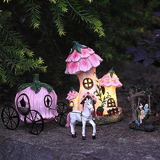 LA JOLIE MUSE 树脂仙女花园 - 微型花卉屋顶小屋带太阳能 LED 灯,仙女房子小雕像3 件套,带南瓜马车,户外装饰适用于庭院草坪