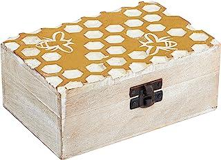 木制首饰盒收纳盒 - 白色怀旧别致蜂蜜梳子设计 - 纪念品盒 6x4 带锁 - 木制手工饰品宝盒戒指项链手链耳环耳环 - 家居装饰