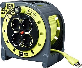 LUCECO 样品插件 Pro-XT-HMIT15164L-PX 电电缆卷筒 15米; 4个多标准 Schuko 插座 + 2 倍 + EU; 意大利插头 16A - 集成LED电源显示 - 电缆颜色:超薄