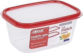 Décor 209500-006 匹配基本长方形 | 食品储藏盒 | 非常适合准备餐食 | 不含双酚 A | 可用洗碗机清洗、冷冻和微波炉*,透明 / 红色,1L