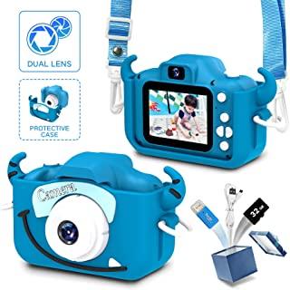 女童和男孩的儿童相机,儿童相机数码视频,儿童相机 2.0 英寸屏幕 20.0 万像素视频,32GB SD 卡,儿童玩具生日礼物,适合 3 - 12 岁的儿童礼物(奶蓝色)