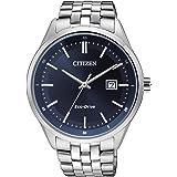 Citizen 西铁城 手表 男式 石英手表 配蓝色指针表盘和银色不锈钢手链 BM7251-53L,blue/silve…