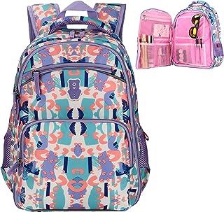 Sarhlio 儿童背包 15 英寸适合男孩和女孩,带几何爱心和月亮图案 几何爱紫色