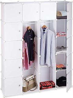 Relaxdays 衣柜 拼接组装系统 带 2 个衣杆 14 个隔层 塑料架系统 多色 白色 36.5  x  145  x  180 cm 10021971_49