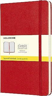 "Moleskine 经典笔记本,硬封皮,大号,5"" x 8.25""(约12.7厘米 x 20.96厘米),方格纸/ 网格纸,猩红色,240页"