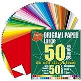 [Taro's Origami Studio] 大号 10 英寸(约 25.4 厘米)单面 50 种颜色 50 张方形易…