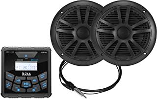 BOSS Audio Systems MCKGB450B.6 防风雨船用仪表接收器和扬声器套装 - IPX6 接收器,6.5 英寸扬声器,蓝牙音频,USB MP3,AM FM,NOAA 气象带调谐器,无 CD 播放器,黑色