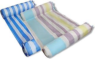 MERMAO 2 件装泳池水吊床休息室 52x27.5 成人漂浮,儿童坚固耐穿刺 PVC。包括充气泵。适合河流、湖泊、海滩(蓝色/彩色)