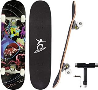 Mixhomic 滑板,完整滑板 31 英寸 79 x 20 厘米双踢 7 层加拿大枫木 ABEC-7 轴承和 PU 轮,滑板板,适合初学者、儿童、青少年成人专业人士的礼物
