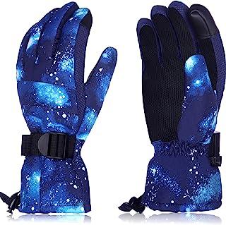 儿童滑雪手套滑雪手套冬季触摸屏手套保暖防水滑雪手套,适合男士女士儿童户外活动