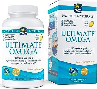 Nordic Naturals 挪帝克 Ultimate Omega,柠檬味 - 1280 毫克 Omega-3-120 粒软胶囊 - 欧米茄 3 鱼油补充剂,含 EPA & DHA - 60 份