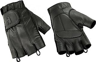 Hugger 无指黑色皮革手套 w/凝胶衬垫手掌 - 驾驶、骑摩托车、警察、户外
