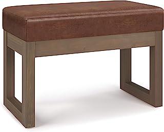 SIMPLIHOME Milltown 26 英寸(约 66.0 厘米)宽现代矩形脚凳 Ottoman 长凳 仿旧马鞍棕色人造革,适用于客厅、卧室