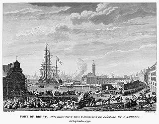 法国革命 1790 年法国布鲁斯特港口,经船舶到货,洛珀德和拉梅尼卡州 1790 年 9 月早期 Jean-Louis Prieur 创作的法国线雕刻