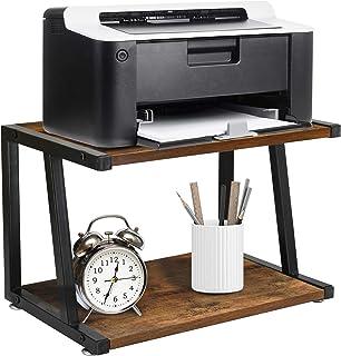 复古桌面打印机支架,带毛毡垫,单层台架桌面收纳架和书架,家庭和办公室收纳,适用于打印机、传真机、扫描仪、办公用品