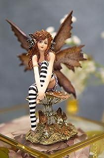 Ebros 礼物 Amy 棕色红色*魔法森林秋天仙女坐在巨大的蘑菇装饰小雕像高 6.25 英寸(约 15.9 厘米)梦幻仙女花园魔法收藏雕像仙女精灵 Nymphs