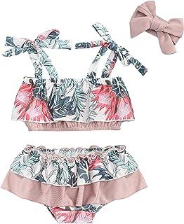 女童泳衣坦基尼可爱美人鱼上衣 + 下装 + 头带泳衣 3 件套女婴泳装