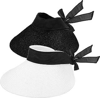 2 件女式宽帽檐遮阳帽可折叠草帽夏季防紫外线卷起的高尔夫遮阳帽夏季沙滩帽