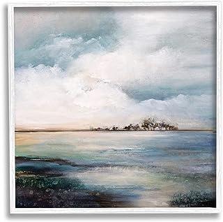 Stupell Industries Mellow Island Landscape Deep Dark Waters Cloudy Sky,Karen Hale White 带框墙艺术,灰色