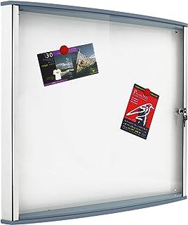 翅膀门、铝框架和灰色聚碳酸酯型材,带锁和钥匙,磁性白色底板,适用于 4 张 A4 纸张。