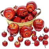BigOtters 仿真苹果,30 件假水果红苹果,深红色苹果逼真模拟家庭房子,厨房桌篮,摄影派对装饰
