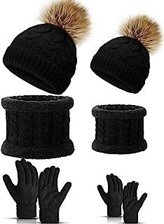 6 件亲子儿童配饰包括保暖针织帽家庭保暖钩针手套,适用于母婴冬季用品