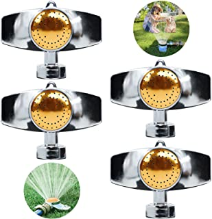 EternalFire 4 件装金属点洒水器草坪洒水器,360 度方形圆形图案铝合金花园洒水器,软管洒水器覆盖面积高达 30 英尺,适用于中小型浇水