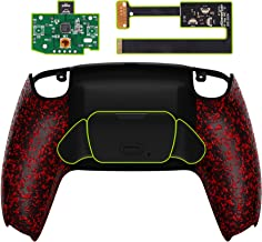 eXtremeRate 纹理红色可编程升降重新映射套件适用于 PS5 控制器、*板和重新设计的后壳和后按钮附件,适用于 DualSense 控制器 - 不包括控制器