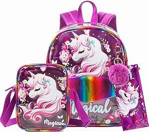 """独角兽透明背包,适合女孩,13 英寸(约 33.0 厘米) PVC 透明幼儿包 13"""" Clear Bag Purple Medium"""