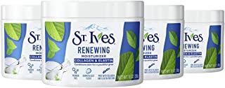 St. Ives 胶原蛋白和弹性纤维面部保湿霜,帮助焕发光彩(不含防腐剂/经过专业测试/无刺激性),10 盎司(283克),4 件装